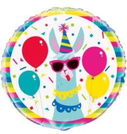 """Llama Birthday Foil Balloon-18"""""""