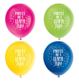 Llama Birthday Latex Balloons-11""
