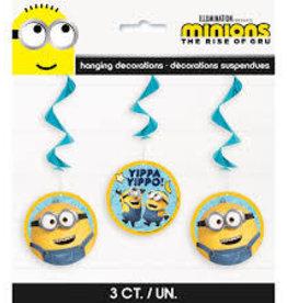 Minion Hanging Swirl Decorations - 3ct