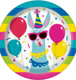"Llama Birthday Round Dessert Plates-7"""