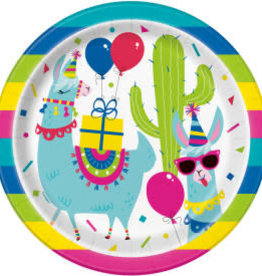 "Llama Birthday Round Dinner Plates-9"""