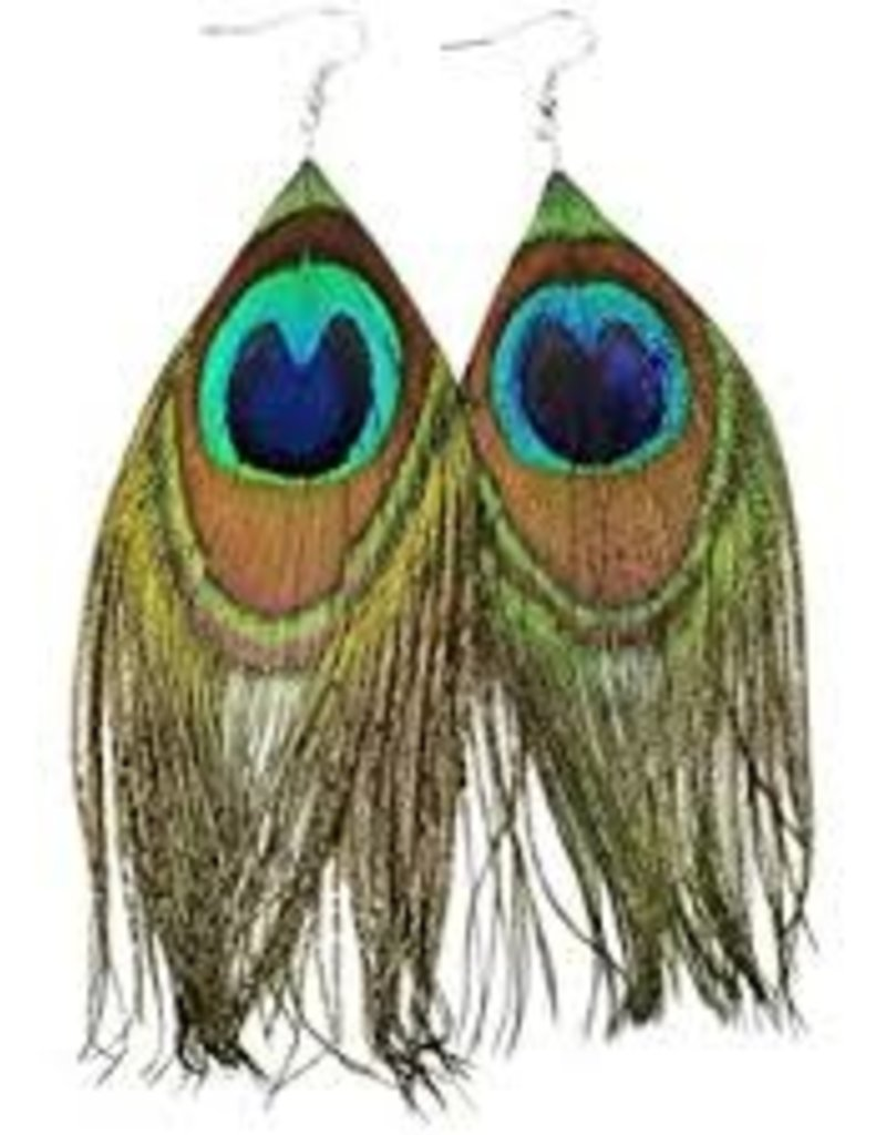 Disco Fever 70's Feather Earrings