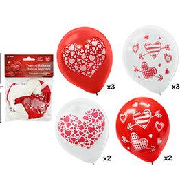 "12"" Latex Heart Print Balloons (10ct flat)"