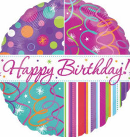 """Happy B-Day Streamers and Stripes 18"""""""