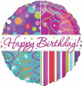 """Qualatex Happy B-Day Streamers and Stripes 18"""""""