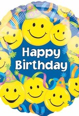 """Qualatex Happy B-Day Smiley Faces & Party Hats 18"""""""