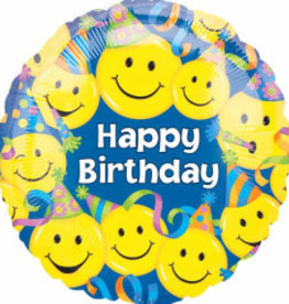 """Happy B-Day Smiley Faces & Party Hats 18"""""""