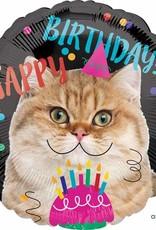 "Qualatex Happy B-Day Cat 18"""