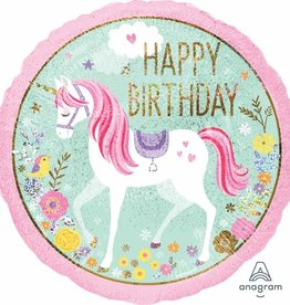 "Qualatex Happy B-Day Pink Unicorn 18"""
