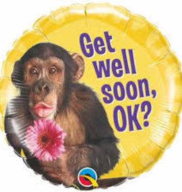 "Qualatex 18"" Get Well Soon Monkey (FLAT)"