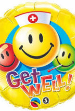 """Qualatex Get Well Smiley Faces 18"""""""