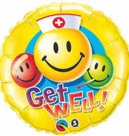 """Qualatex 18"""" Get Well Smiley Faces (FLAT)"""