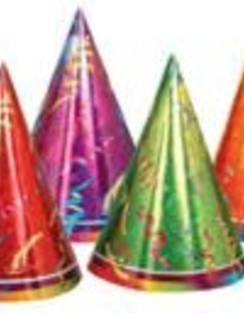 """7"""" PRISMATIC PARTY HATS 6/PKG"""