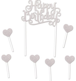 HAPPY BIRTHDAY CAKE TOPPER (1/PKG) silver