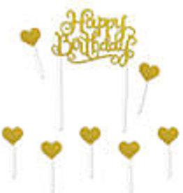 "GLITTERED HAPPY BIRTHDAY CAKE TOPPER8 ¼"" gold"
