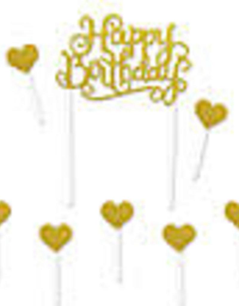 "GLITTERED HAPPY BIRTHDAY CAKE TOPPER8 ¼"" gold"