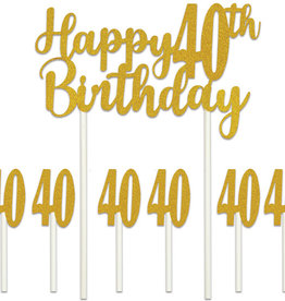 HAPPY 40TH BIRTHDAY CAKE TOPPER (1/PKG)