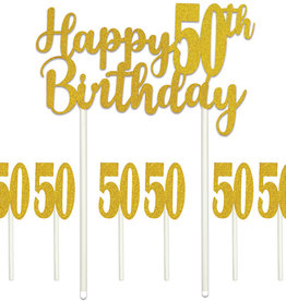 HAPPY 50TH BIRTHDAY CAKE TOPPER (1/PKG)
