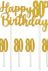 HAPPY 80TH BIRTHDAY CAKE TOPPER (1/PKG)
