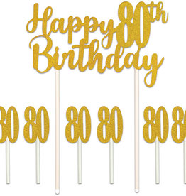 HAPPY 80TH BIRTHDAY CAKE TOPPER (1/PKG)