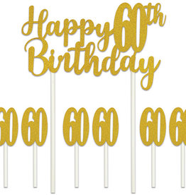 HAPPY 60TH BIRTHDAY CAKE TOPPER (1/PKG)