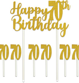 HAPPY 70TH BIRTHDAY CAKE TOPPER (1/PKG)