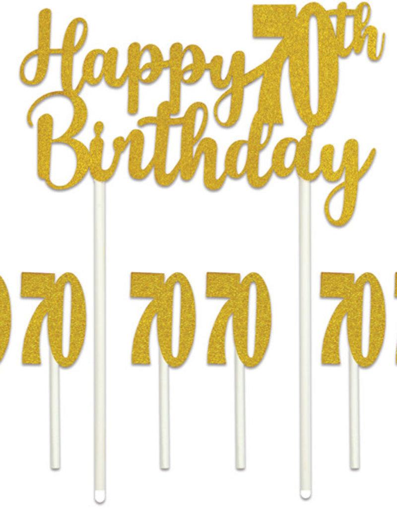 HAPPY 70TH BIRTHDAY CAKE TOPPER (1/PKG)