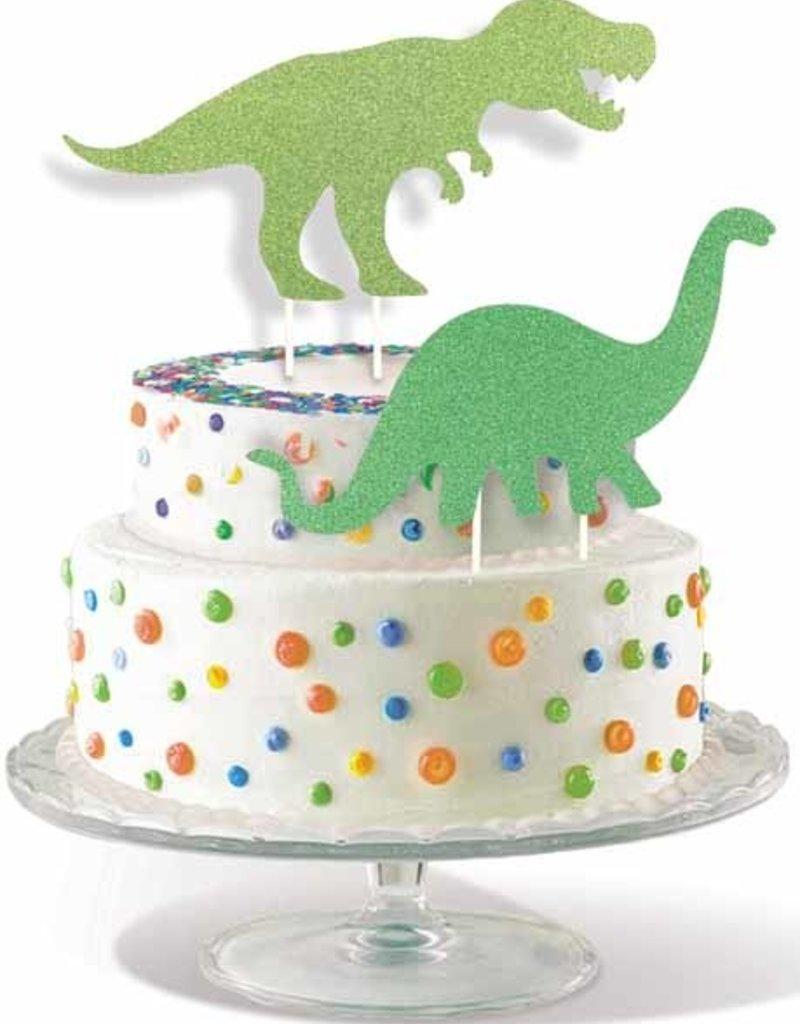 """DINOSAUR CAKE TOPPER 2/PKG 8"""""""