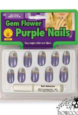 GEM FLOWER PURPLE NAILS
