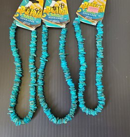 Puka Shell Necklace - TEAL BLUE