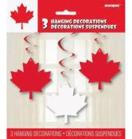 "CANADA DAY LEAF HANGING SWIRL DECORATIONS 26"" 3PK"