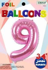 Foil Jumbo Number 9 Helium Balloon