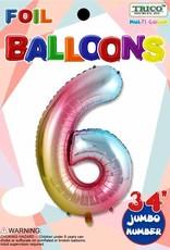 Foil Jumbo Number 6 Helium Balloon