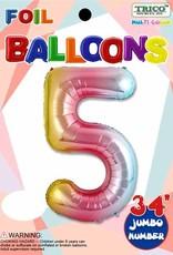 Foil Jumbo Number 5 Helium Balloon