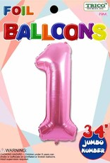 Foil Jumbo Number 1 Helium Balloon