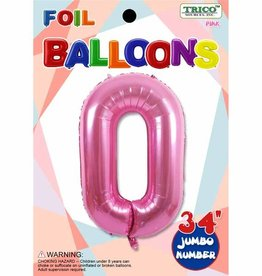 Foil Jumbo Number 0 Helium Balloon
