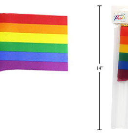 "Celebrate Pride Rainbow 4pk 4""x5.5"" Flags w/9.5"" Poles"