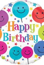 "Qualatex Happy Birthday Smiley Balloons 18"""