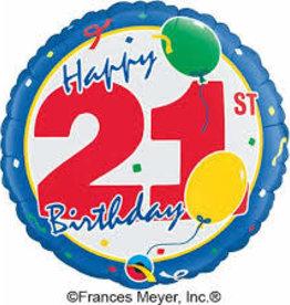 "Qualatex Happy 21st B-Day- 18"""