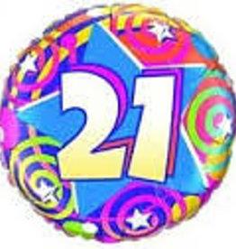 "Qualatex Stars and Swirls 21st B-Day 18"""