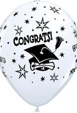 "Congrats Cap 11"" latex white 50ct"