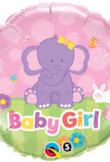"Qualatex Baby Girl Elephant 18"" flat"