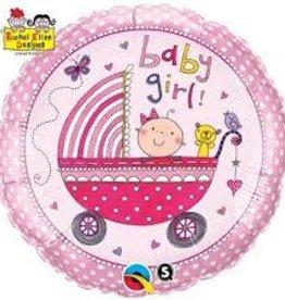 "Qualatex Baby Girl Stroller 18"""