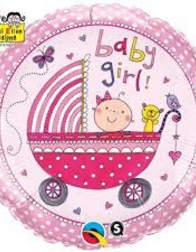 "Qualatex Baby Girl Stroller 18"" flat"