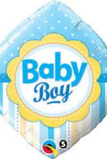 "Qualatex Baby Boy Square 18"" flat"
