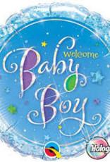 "Qualatex Welcome Baby Boy 18"" flat"
