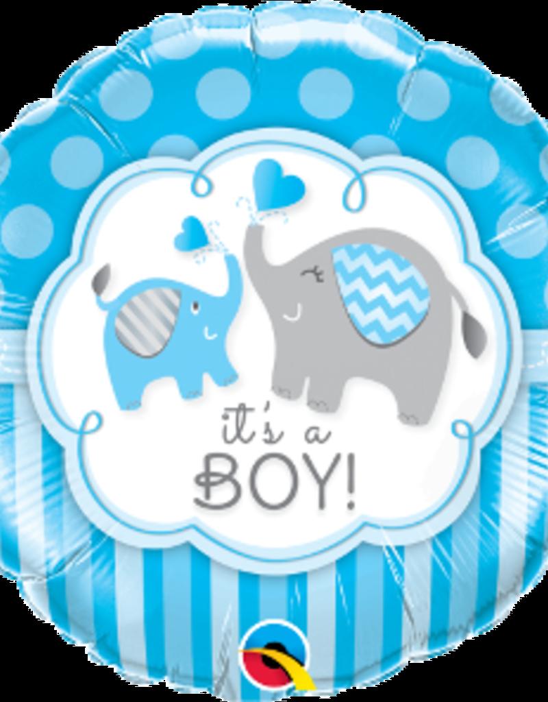 "Qualatex It's A Boy Elephants 18"""