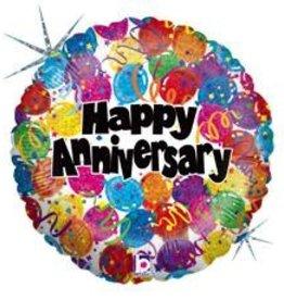 "Qualatex 18"" Holographic Happy Anniversary"