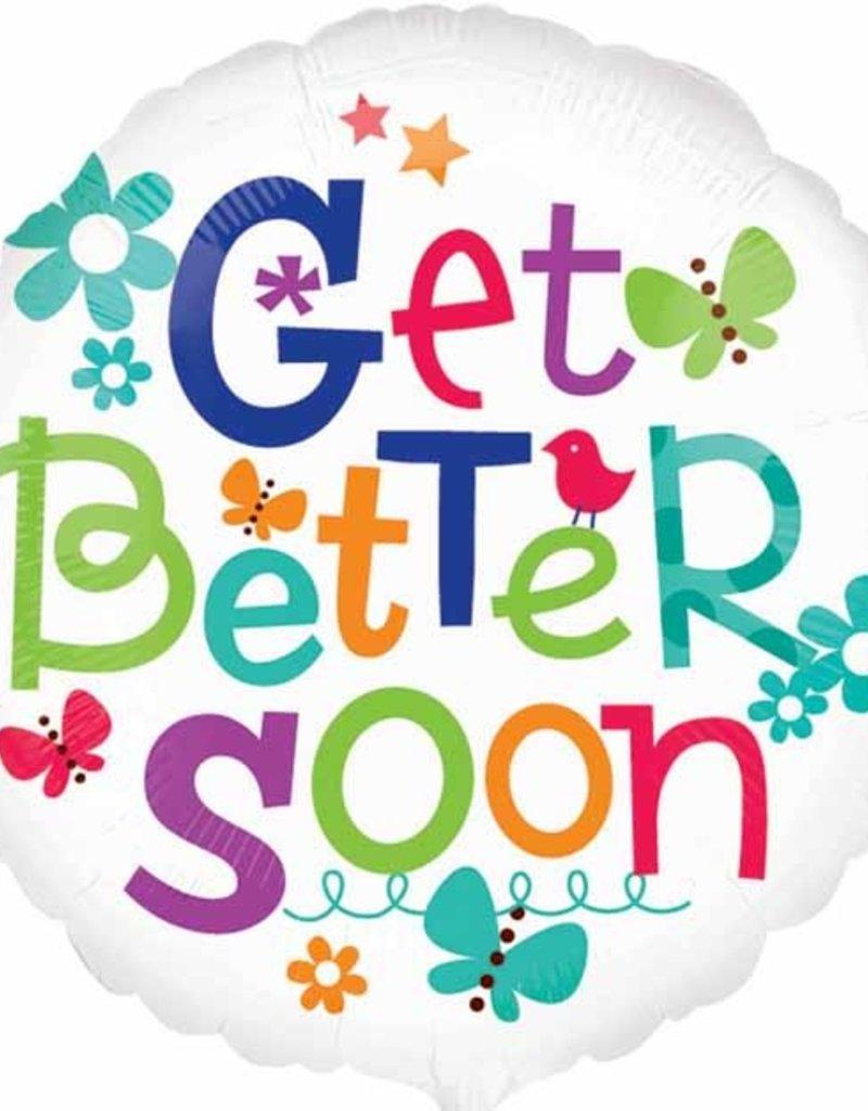 """18"""" Get Better Soon - Flowers and Butterflies"""