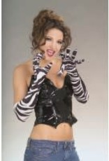 "20"" Long Velvet Gloves - B&W Zebra"